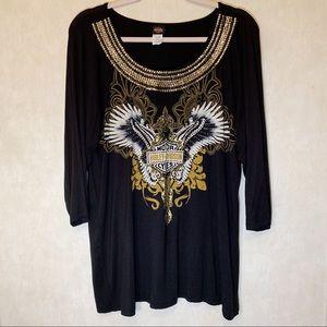 Harley Davidson jeweled shirt. Size 2XL